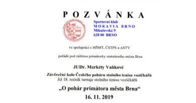 Přihláška na závěrečné kolo Českého poháru stolního tenisu vozíčkářů